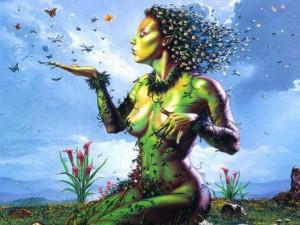 moeder-aarde zittend vlinder